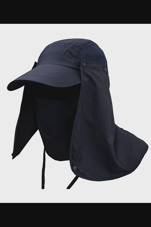 Fashion Summer Outdoor Sun Protection Fishing Cap Neck Face Flap Hat Wide Brim Navy Blue Cc12 Video Summer Sun Hat Sun Hats Wide Brim Sun Hat