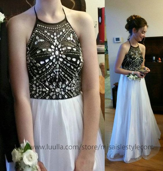 Halter Prom Dress,Sparkle Prom Dress,Beaded Prom Gowns,White and