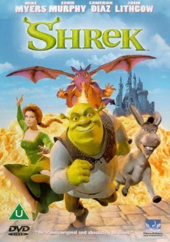 "Shrek (2001) directed by Andrew Adamson, based on the book by William Steig, starring the voices of Mike Myers, Eddie Murphy, Cameron Diaz and John Lithgow. ""An ogre, in order to regain his swamp, travels along with an annoying donkey in order to bring a princess to a scheming lord, wishing himself King."""