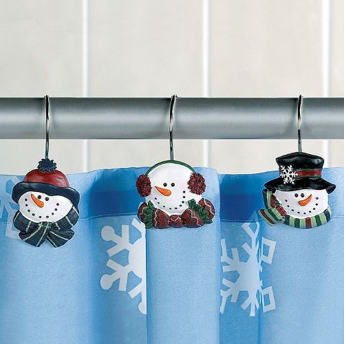 Snowman Christmas Winter Holiday Shower Curtain Hooks