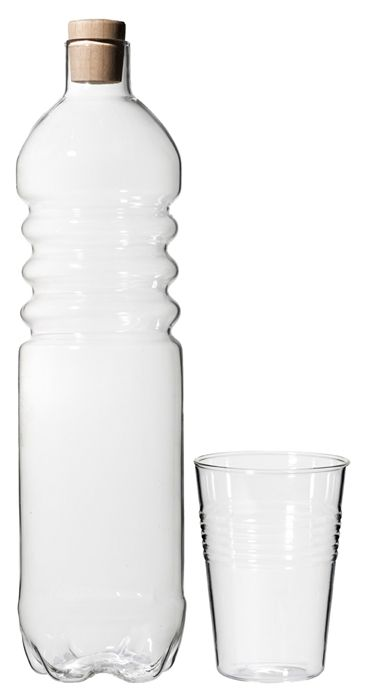 Roost Glass water bottle and glass drinking cup. looks like plastic but is much more eco-friendly (and beautiful) glass.