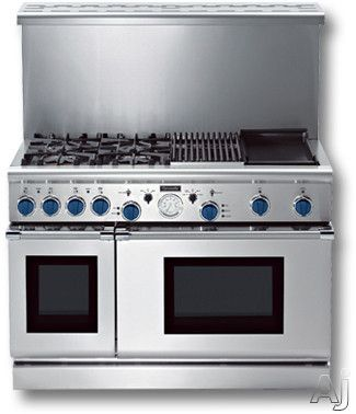 """48"""" Pro-Style Dual-Fuel Range with 4 Star Burners (2 w/ ExtraLow Simmer Settings), Electric Griddle & Gas Grill, European 3rd Element Convection & Extra-Large-Capacity Oven"""