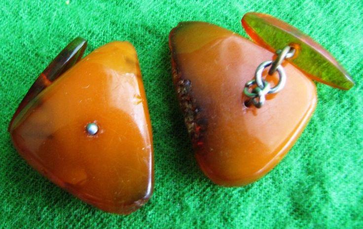 Russia Vintage Natural Baltic Amber Orange Honey Cufflinks 6.9 gr Fine Jewelry