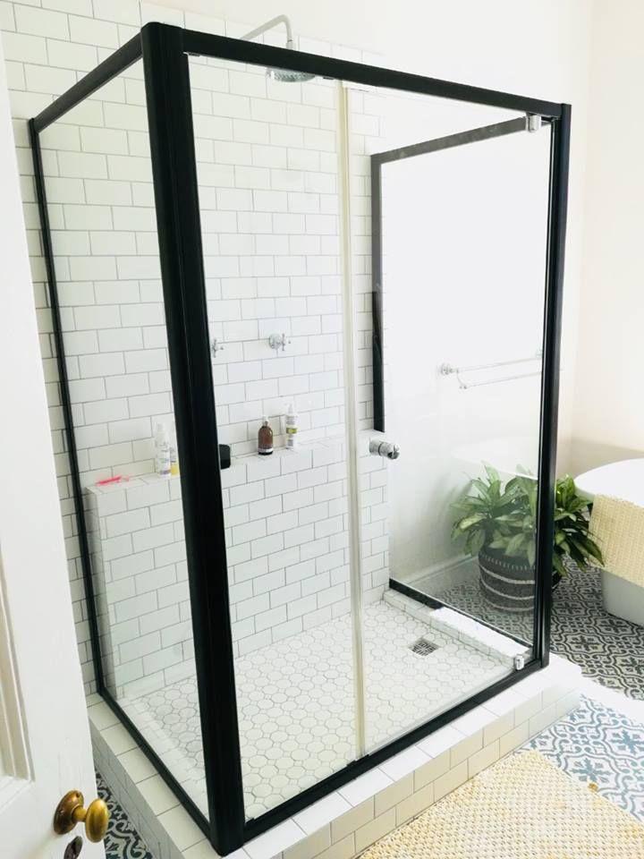 Showerline Black Framed Shower Door Black Shower Mirage Shower Range Pivot Door Black Beauty Frameless Shower Doors Shower Doors Custom Shower Doors
