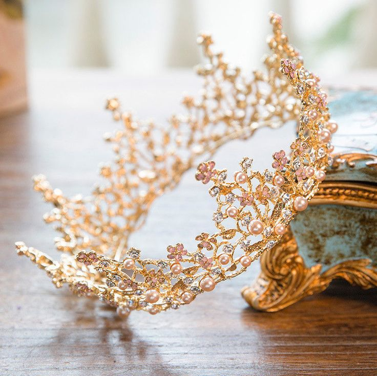 Details about 7cm High Pink Pearl Flower Crystal Gold Large Crown Wedding Prom Party Pageant