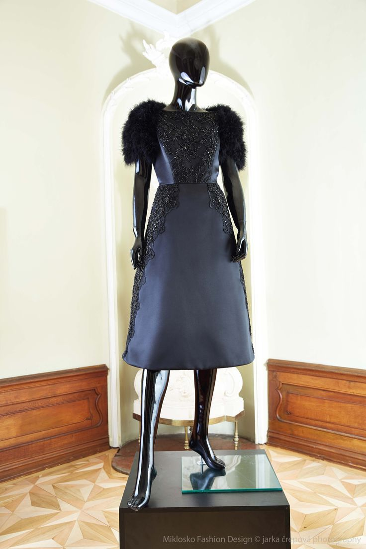 7. MFD Black cocktail dress with black feather bolero. www.mikloskofashiondsign.sk