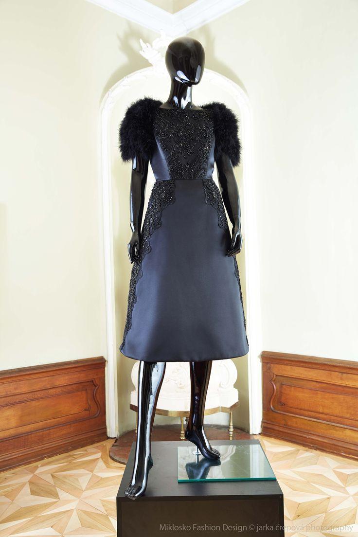 7. MFD Black cocktail dress with black feather bolero. www.mikloskofashiondsign.sk