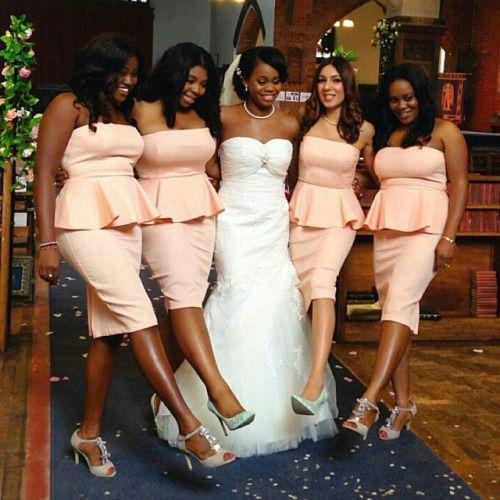 Lovely peplum bridesmaids dresses! Makeup by @joyadenugamua hair by @hairbyabike #NWbms #peplum #Bridesmaids #nigerianwedding #nigerianweddingpictures