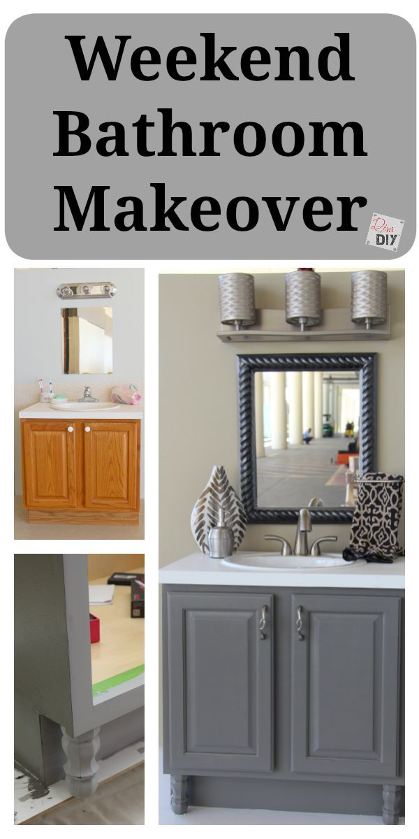 4 diy bathroom ideas that are quick and easy l grey for Bathroom cabinet makeover ideas