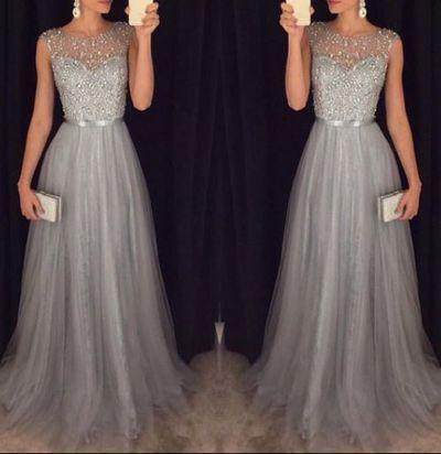 Long Prom Dress, Tulle Prom Dress, Grey Prom Dress,Floor-Length Prom Dress, Junior Prom Dress, PD190031 from FoucsDresses