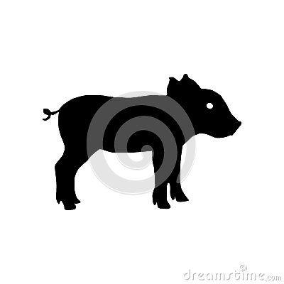 Силуэт свиньи также вектор иллюстрации притяжки corel