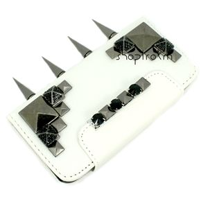 Off White iPhone 5 Studded Wallet Phone Case Gun Metal Black Diamond Pyramids Long Spikes front main ***********Shop now and use the code :REPIN to get 15% off and get FREE shipping within the U.S...