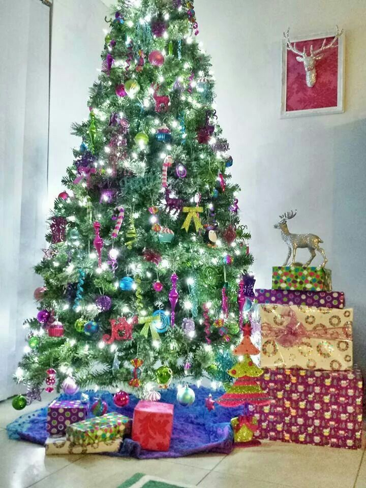 My Christmas tree from last year ♡ Pink, green, purple and teal