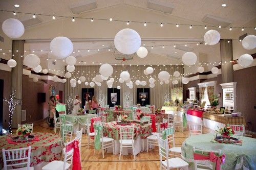 here is a reception at an lds cultural hall, I would do more lights and less lanterns to save money though...but it gives you an idea of what it looks like I still hate the idea of having a reception at the church. But good to have as a last resort.