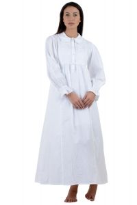 White Cotton Peter Pan/Ruffle Collar Long Sleeve Plus Size Long Nightdress.