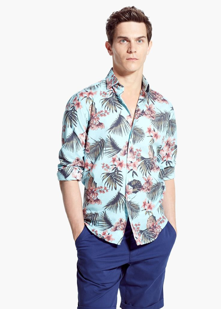 Chemise slim-fit en imprimé tropical
