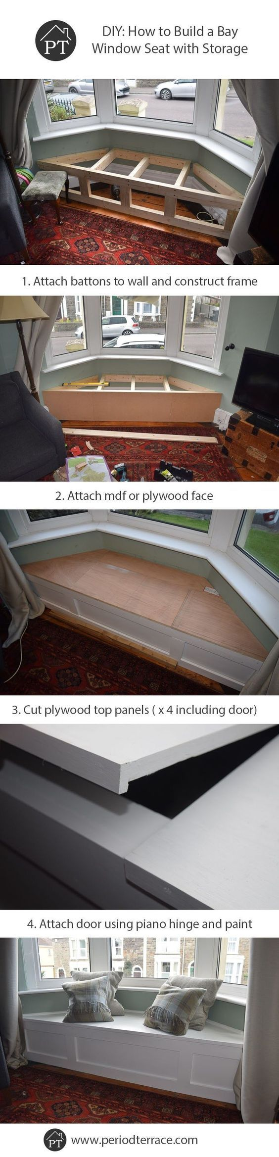 DIY post on how to build a bay window seat with storage that blends perfectly into a period home, and has a lifting door with plenty of storage room. * Read more at the image link.