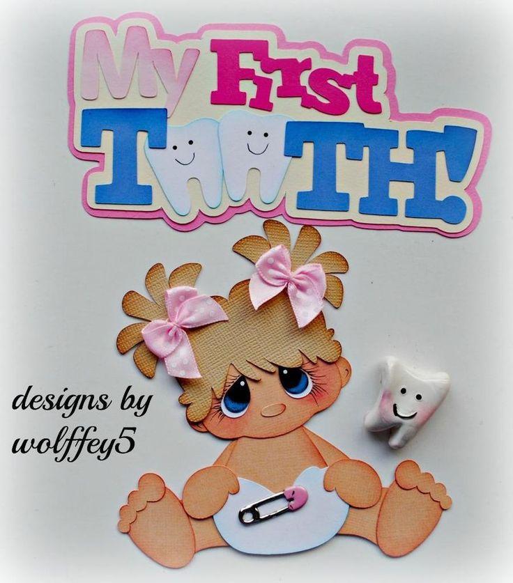 ELITE4U GIRL BABY TOOTH  paper piecing premade scrapbook page die cut  WOLFFEY5