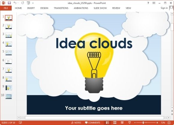 Animated PowerPoint template with light bulb pictures and cloud background design for PowerPoint #PowerPoint #templates
