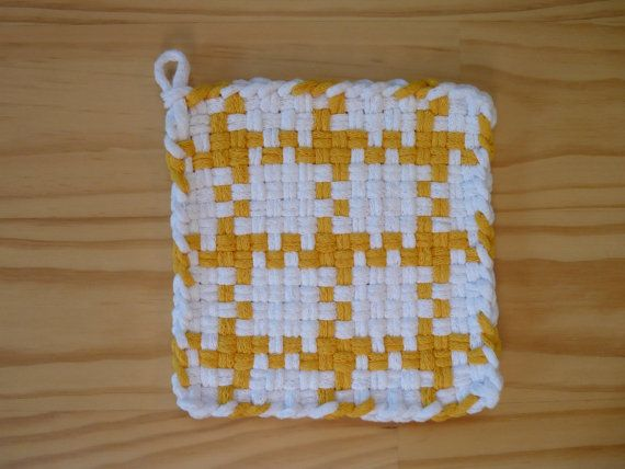 Yellow and White Vintage Inspired Pattern Woven Cotton Loop Loom Potholder Vintage Modern Kitchen Farmhouse Farm