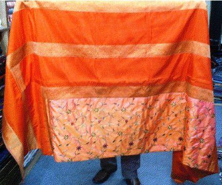 AFGHAN bed sheet set silk spread blanket long ethnic baluchi pakistani pillow cushion covers indian asian sofa futon couch throw 9x7 orange