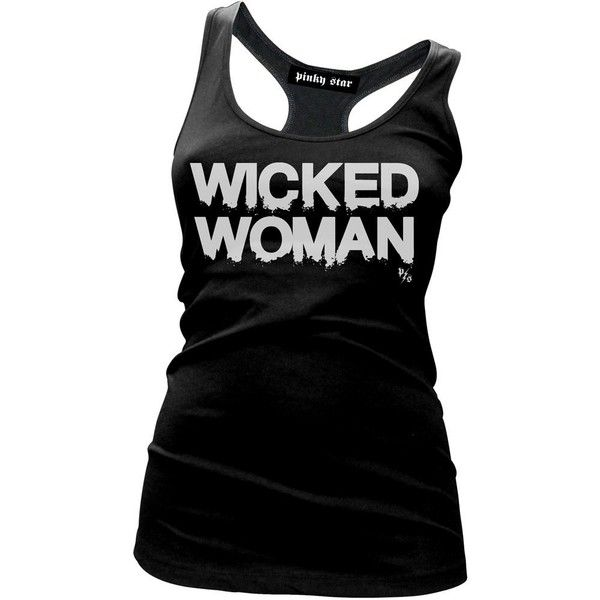 Women's Pinky Star Wicked Woman Tank Top Black ($22) ❤ liked on Polyvore featuring tops, camisole tank top, cami tank, camisole tops, cami tank tops and cami top