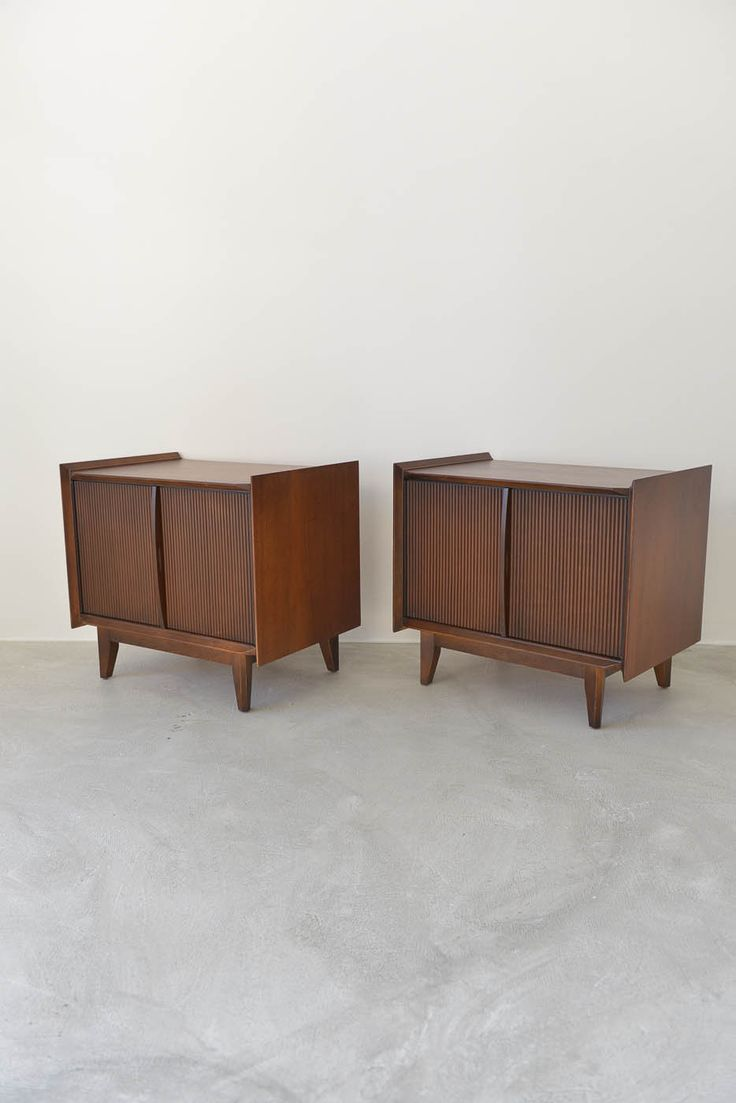 Pair Of Walnut End Tables Or Nightstands By Lane For Their Scandia Line Each Piece Measures