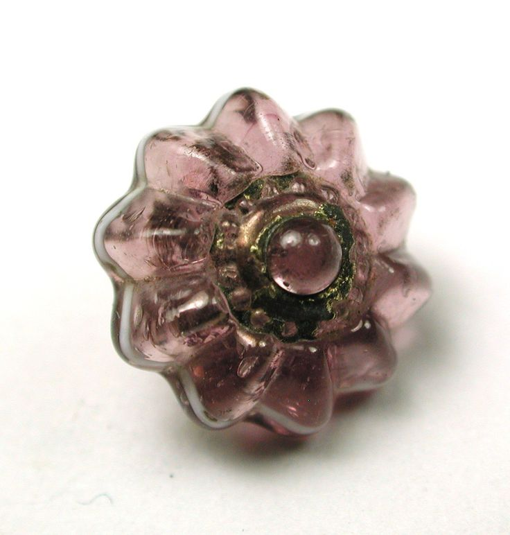 Antique Charmstring Glass Button Amethyst Candy Mold w Brass OME Swirl Back |Circa 1840-60  eBay