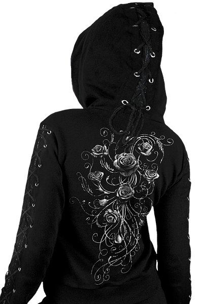 Entwined Rose Lace-up Hoodie Top