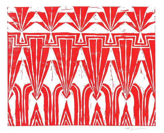 SALE Print Deco Repeating Geometric Pattern Linocut by printwork