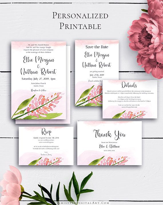 Personalized Blush Wedding Set with adorable and fascinating watercolor blush design in rustic wedding style.Build your suite - choose your card combination by Amistyle Digital Art on Etsy