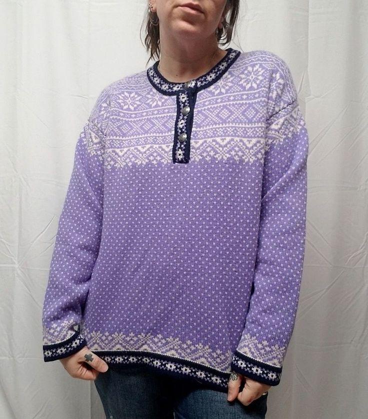 Vtg LL BEAN Purple Nordic Fair Isle Evil Eye 100% Merino Wool Sweater Womens XL #LLBean #Crewneck