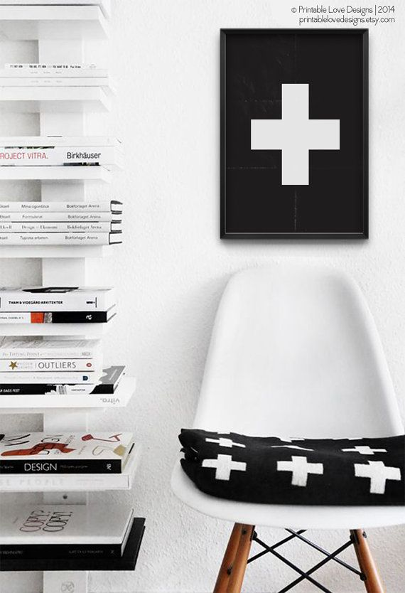 || SWISS CROSS PRINT ||    ...red cross, swiss cross, positive print... a modern, minimalist print that would look amazing in any space.