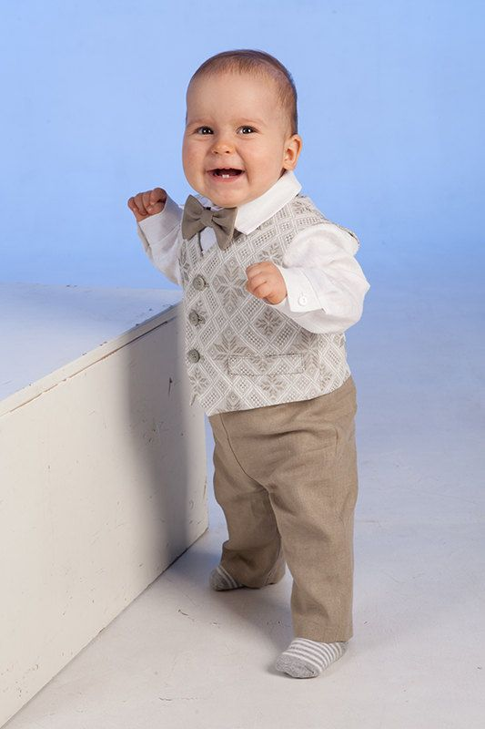 How Stinking Cute!!!!! Baby boy linen suit baptism outfit baby boy clothes by Graccia, $125.00