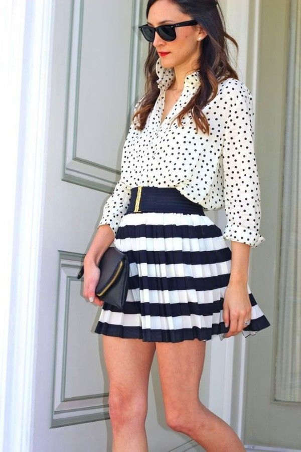 Polka dots and stripes in navy colour