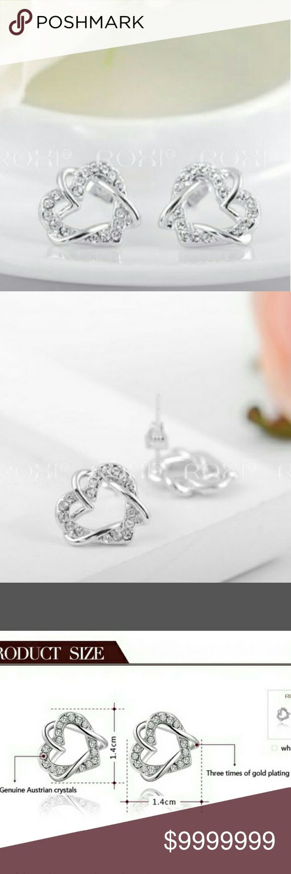 """💕🆕 """"Heartbreaker"""" Earrings 💕🆕""""Heartbreaker"""" Earrings. White gold plated hearts are adorned with real Australian Crystals to complete these pretty post- backed earrings. Like to be notified when these babies arrive💕 Jewelry Earrings"""