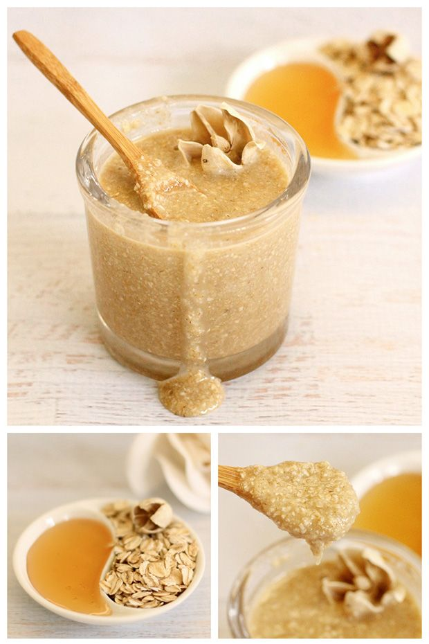 Soothing oatmeal scrub. Sub agave for honey