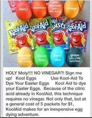 Kool Aid Dyed Eggs- use 1 whole pkg in container used to dip eggs in