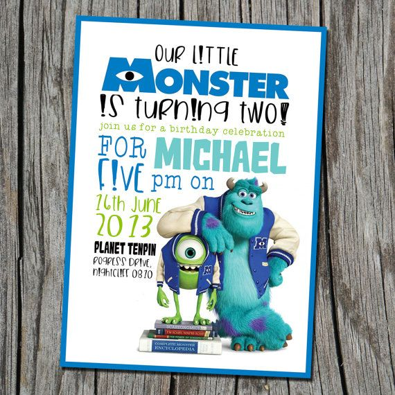 Monsters Inc. invitation  Modern Contemporary by EmbellisheDesigns, $12.00