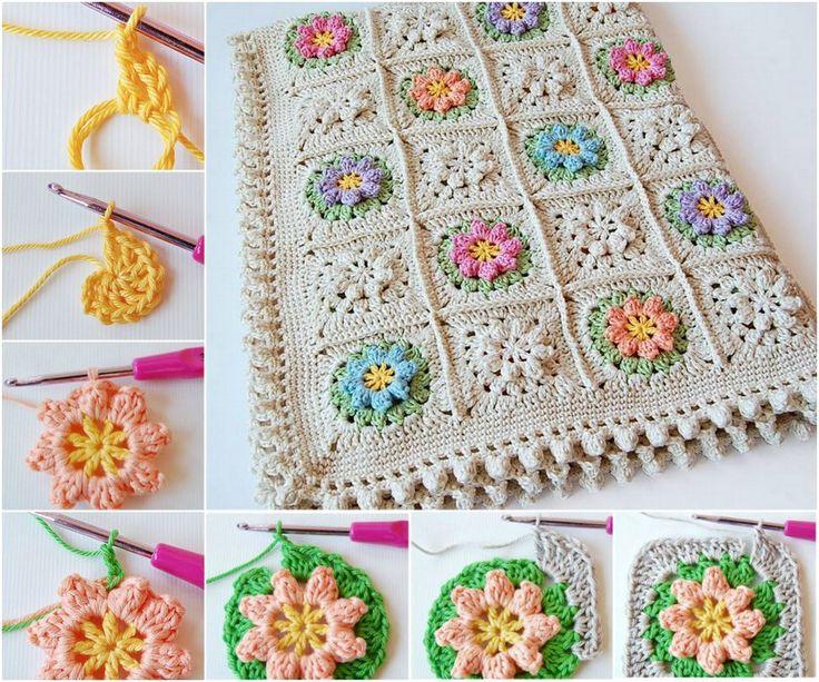 crochet-flower-granny-square blanket FREE pattern #diy #crafts #crochet