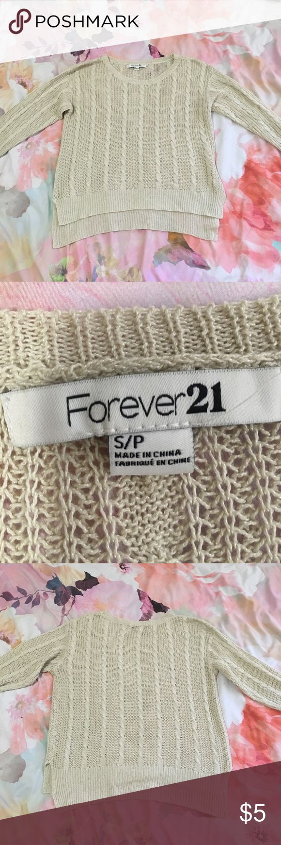 Creme knit sweater from Forever 21 Size small, Forever 21 sweater, simple, slightly longer in the back than the front Forever 21 Sweaters