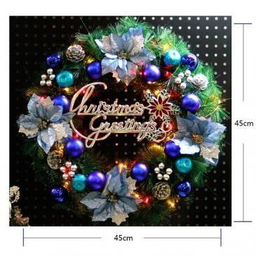 クリスマスリース 造花 アートフラワー シルク アレンジ 祝い クリスマス 玄関 壁飾り ポインセチア[2]