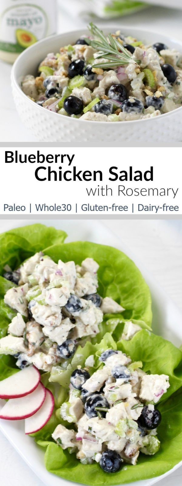 ur Blueberry Chicken Salad with Rosemary is easy enough for a weeknight dinner yet fancy enough for special occasions| Whole30| Paleo | Dairy-free | Gluten-free | http://therealfoodrds.com