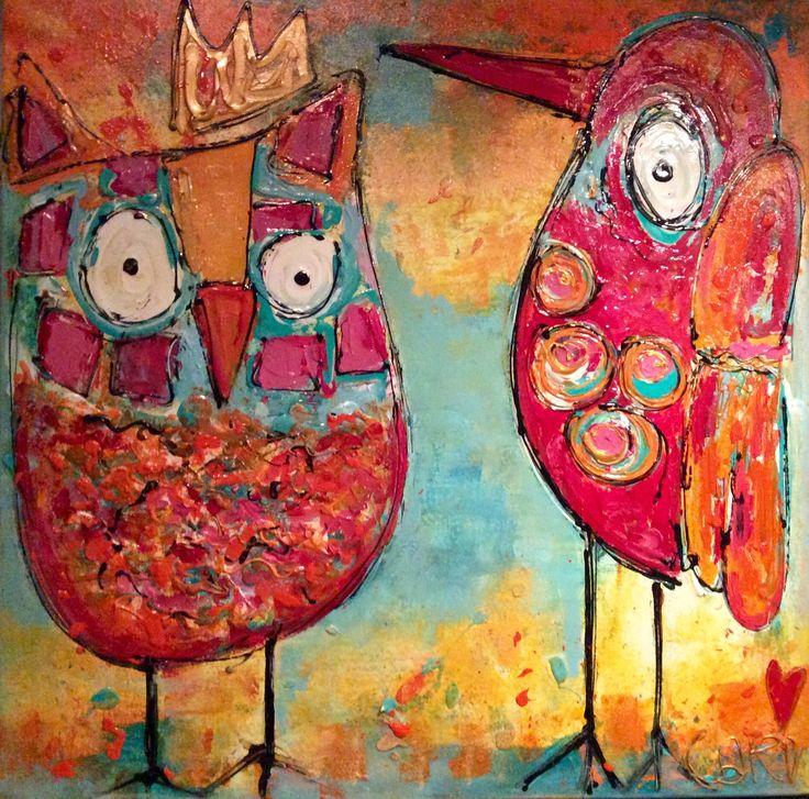 Uil ,vogel kleurrijke kunst dieren  Modern abstract kunst schilderijen  Www.carinkunst.nl