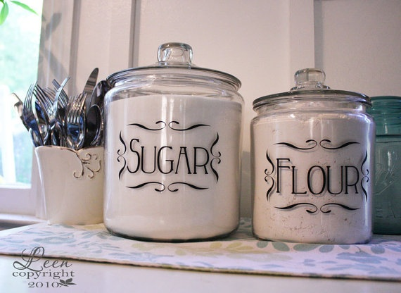 Jar or Canister Vinyl Tags for Home by LeenTheGraphicsQueen, $15.00