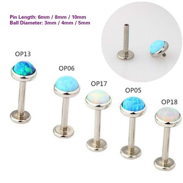 1PC Steel Opal Lip Rings Helix Tragus Cartilage Internal Thread Labret Piercings