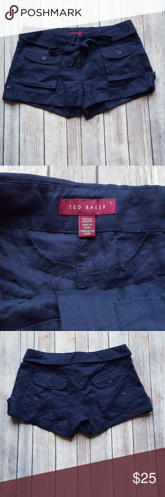 Ted Baker Linen Shorts Ted Baker size 1 Us 4 (Size charts posted) In excellent condition  No signs of wear or discoloration  Navy blue 100%linen Ted Baker Shorts