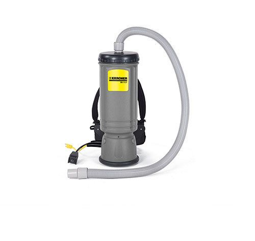 The Kärcher BV 11/1 backpack vacuum is ergonomically designed, making it comfortable to wear and easy to use. The power switch is mounted on the hip within easy view and reach of the operator. A chest strap ensures better weight distribution.