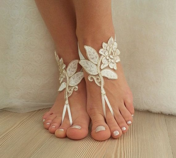 ivory gold frame Beach wedding barefoot sandals by BarefootShop | See more about Gold Frames, Barefoot and Beach Weddings.