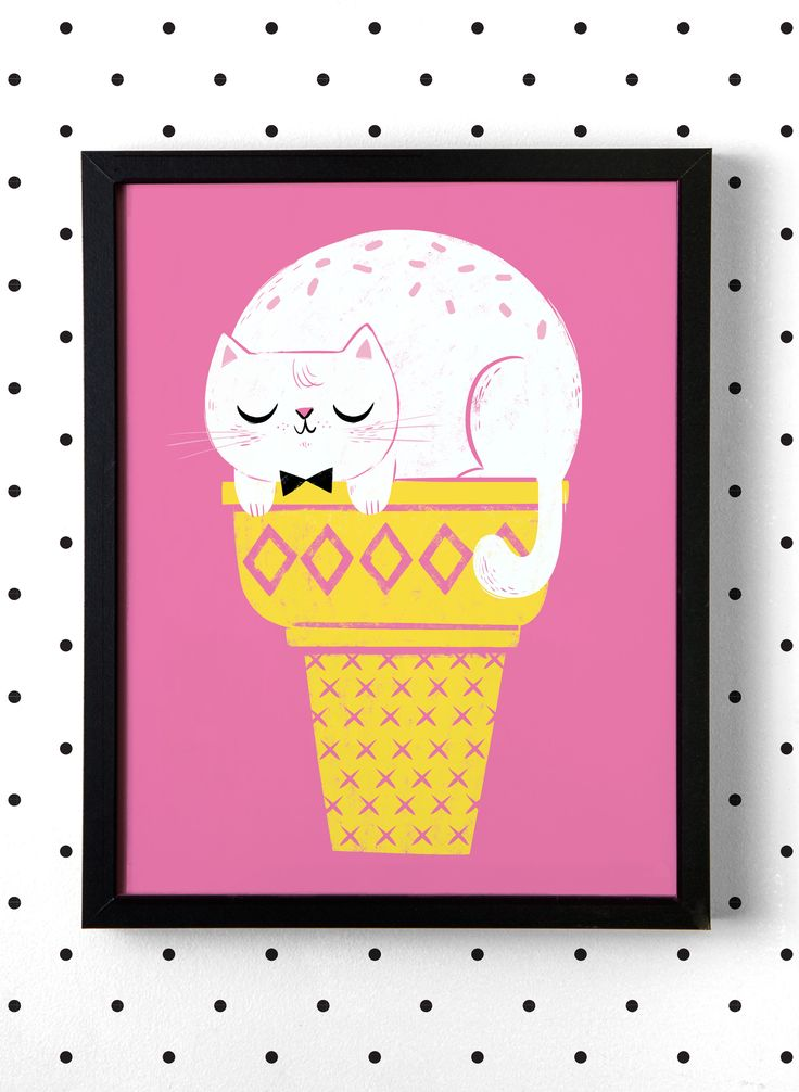 Hooray Today Kitty Cone Art Print | shophooraytoday.com